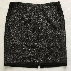 NWT Talbots Black Sequin Silk Pencil Skirt 14P